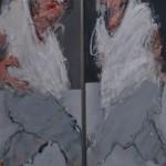 Dyptique, un pas vers l'autre, Mixte sur toile, 2 x ( 30 x 90 cm)