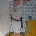 Toujours prete _ se noyer dans un verre d'eau, mixte sur toile, 100 x 81 cm