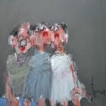 Triplette les pieds dans l'eau, Mixte sur toile, 65 x 54 cm